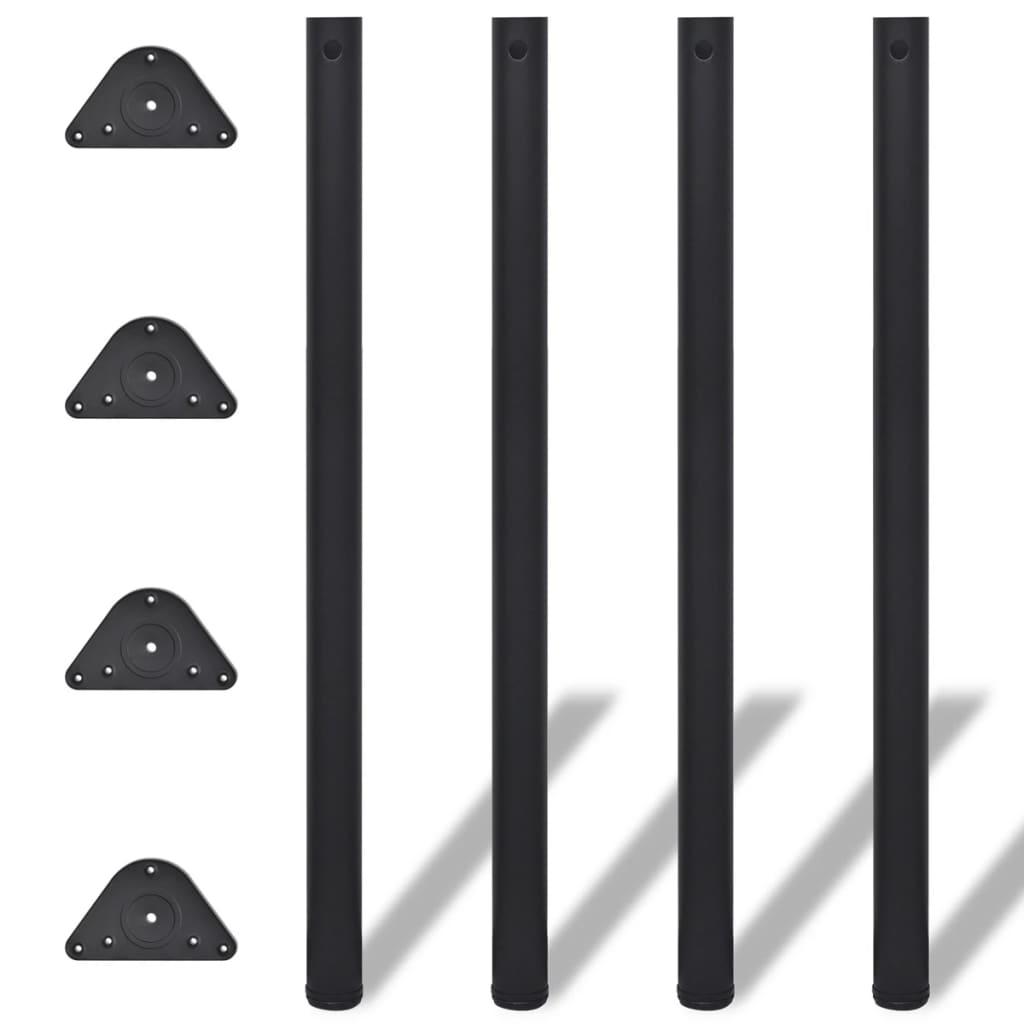 4x höhenverstellbares Tischbein Tischbeine Stützfuß Schwarz 1100 mm