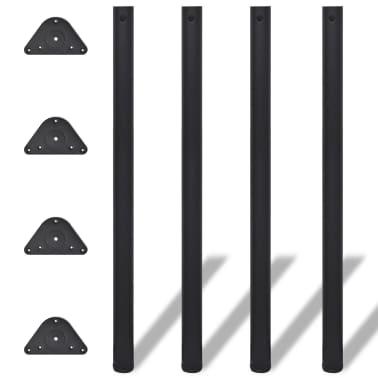 4 Pieds de table Noir à hauteur réglable 1100 mm[1/4]