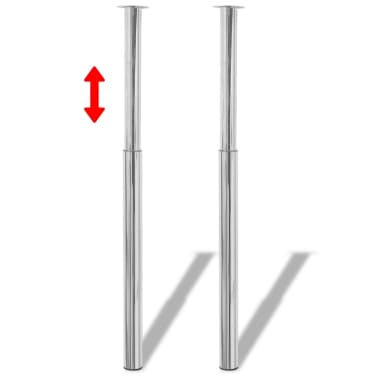vidaXL Pieds de table télescopique 2 pcs Chrome 710 mm - 1100 mm[1/5]