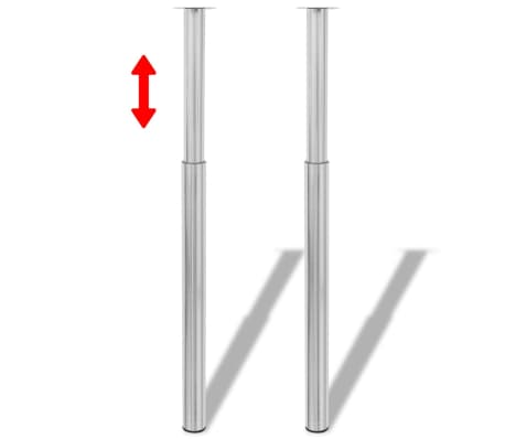 2 Teleskopinės Stalo Kojos, Matinis Nikelis, 710 - 1 100 mm