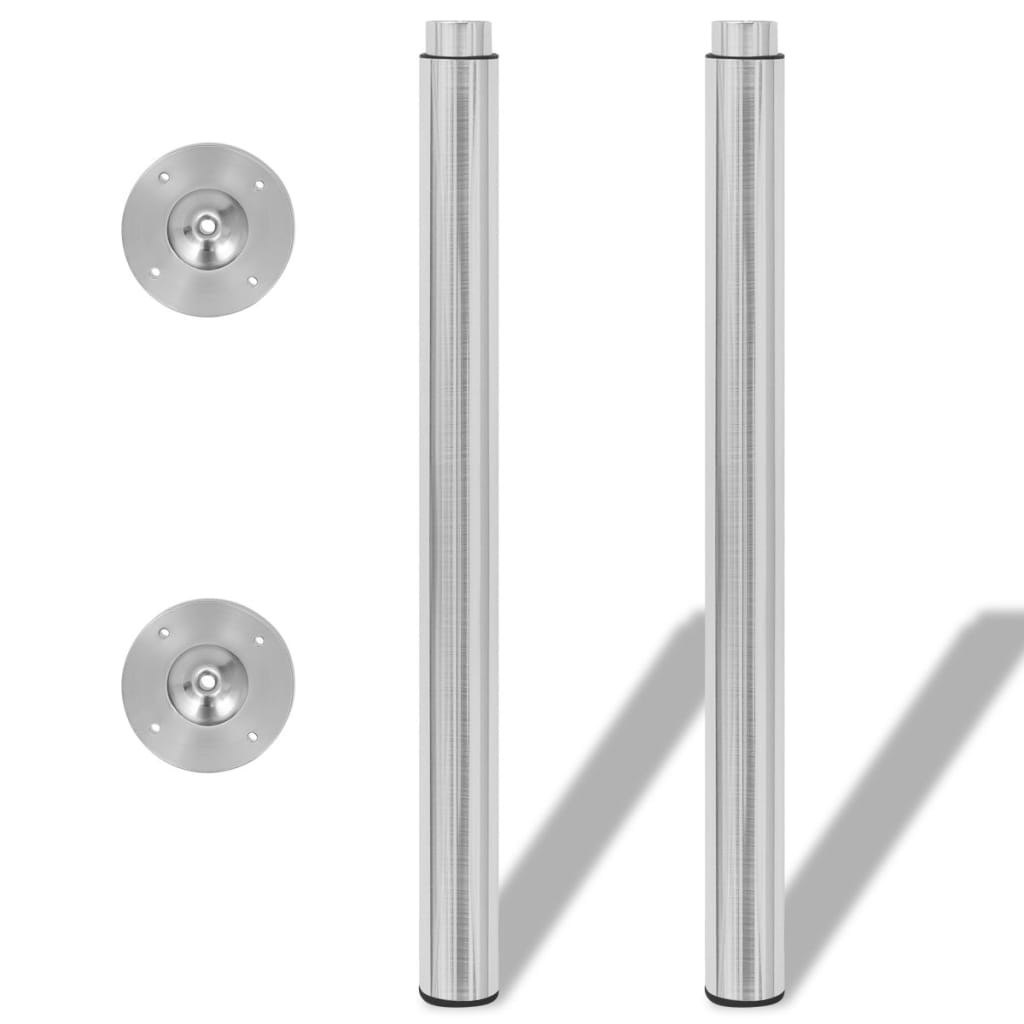 2 Teleskopske Noge za Stol Brušeni nikal 710 mm-1100 mm