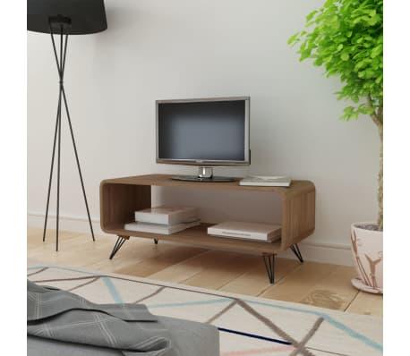 tv schrank kaffeetisch mit lagerfach braun 89 5 x 39 cm g nstig kaufen. Black Bedroom Furniture Sets. Home Design Ideas