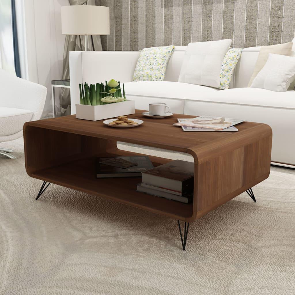 Konferenční stolek Hooper s úložným prostorem, hnědý, 89,5 x 55,5 cm
