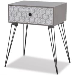 vidaXL Table de chevet avec 1 tiroir rectangulaire Gris