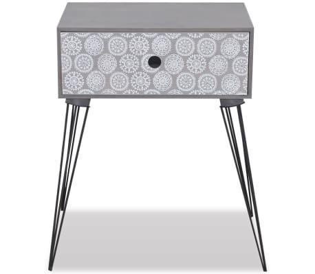 vidaXL Table de chevet avec 1 tiroir rectangulaire Gris[4/6]