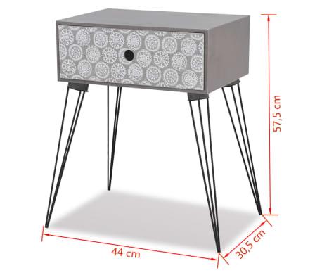 vidaXL sengebord med 1 skuffe rektangulær grå[6/6]