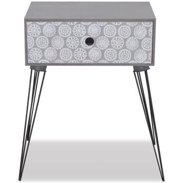 vidaXL sengebord med 1 skuffe rektangulær grå[4/6]