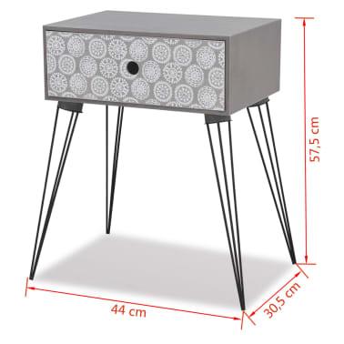 vidaXL Table de chevet avec 1 tiroir rectangulaire Gris[6/6]