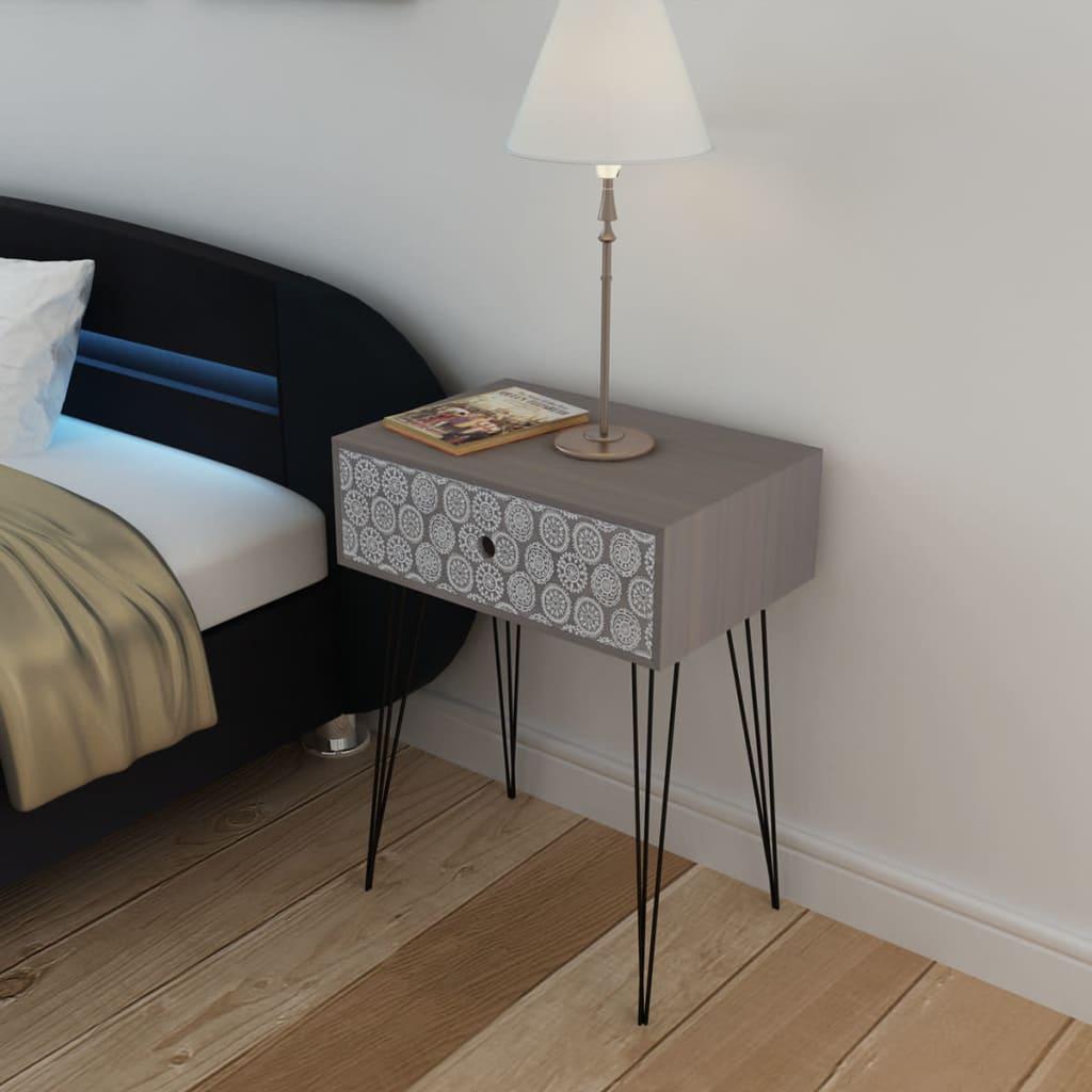 Obdélný noční stolek s 1 zásuvkou, šedý