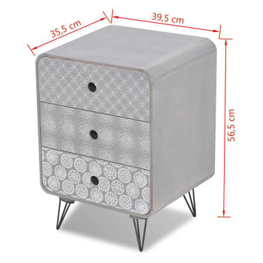 vidaXL Side Cabinet with 3 Drawers Grey[5/5]
