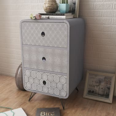 vidaXL Side Cabinet with 3 Drawers Grey[1/5]