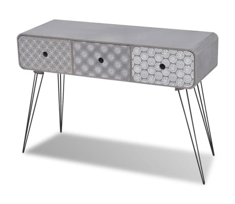 vidaxl table console avec 3 tiroirs gris. Black Bedroom Furniture Sets. Home Design Ideas