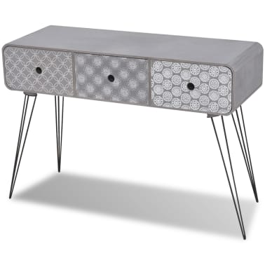 vidaXL Console Table with 3 Drawers Grey[2/5]