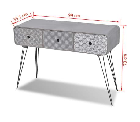 vidaXL Console Table with 3 Drawers Grey[5/5]