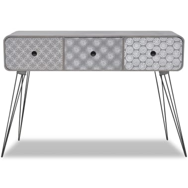 vidaXL Console Table with 3 Drawers Grey[3/5]
