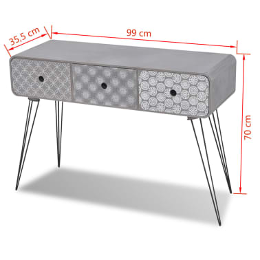vidaXL Table console avec 3 tiroirs Gris[5/5]