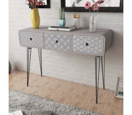vidaXL Console Table with 3 Drawers Grey[1/5]