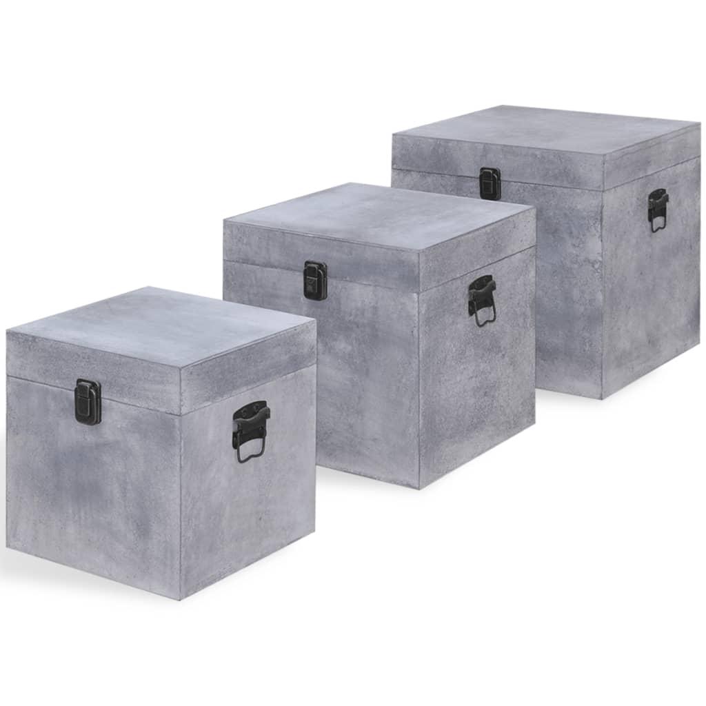 vidaXL Κουτί Αποθήκευσης Τετράγωνο Σχέδιο Σκυροδέματος 3 τεμ. Γκρι MDF
