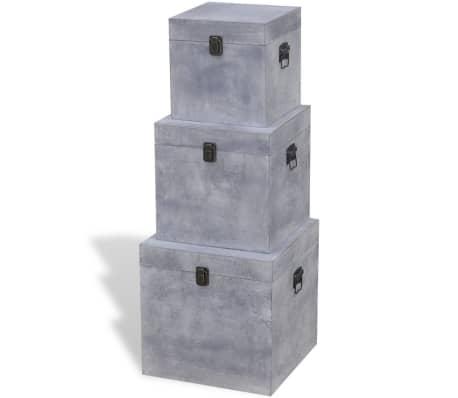 vidaXL Scatole Portaoggetti Set 3 pz Quadrate Grigio in MDF[3/6]