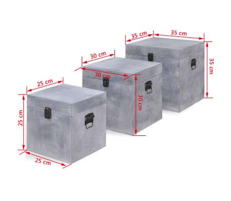 vidaXL Scatole Portaoggetti Set 3 pz Quadrate Grigio in MDF[6/6]