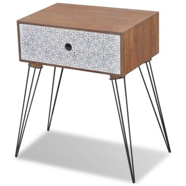 vidaXL Sängbord med 1 låda rektangulär brun[2/6]