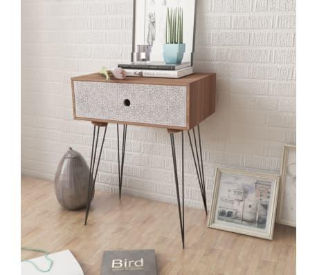 vidaXL Sängbord med 1 låda rektangulär brun[3/6]