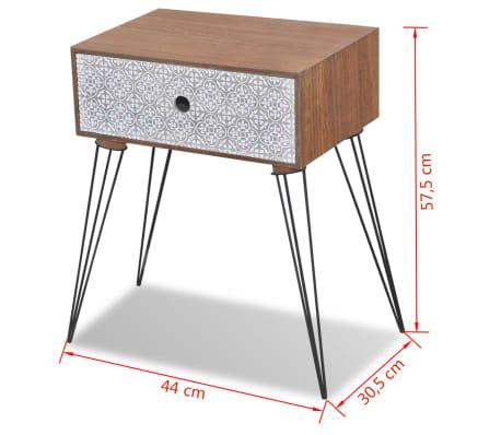 vidaXL Sängbord med 1 låda rektangulär brun[6/6]