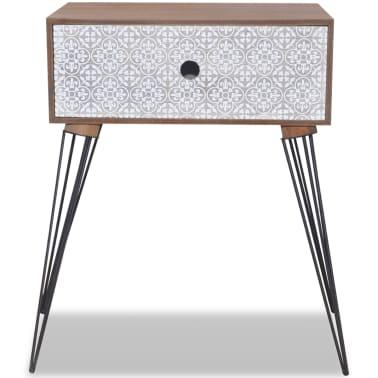 vidaXL Sängbord med 1 låda rektangulär brun[4/6]