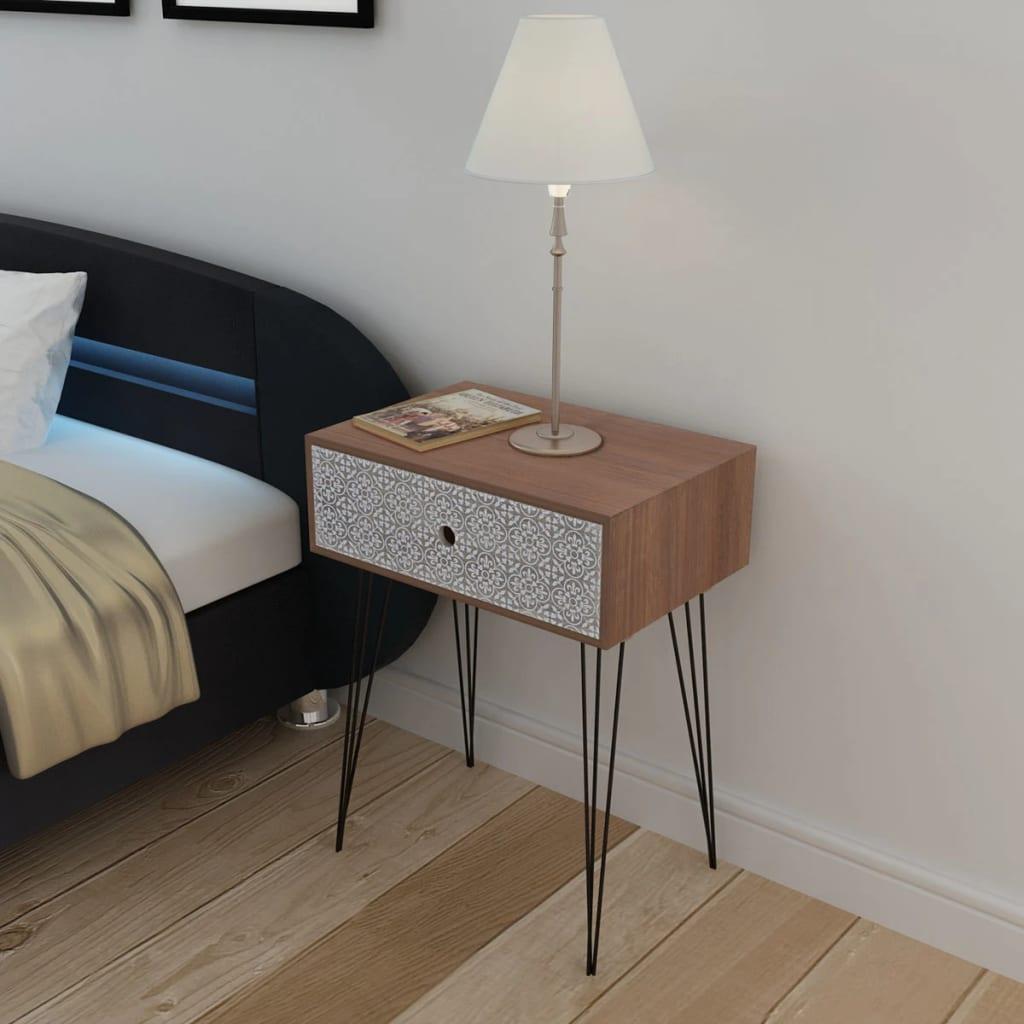 vidaXL Noční stolek s 1 zásuvkou obdélníkový hnědý