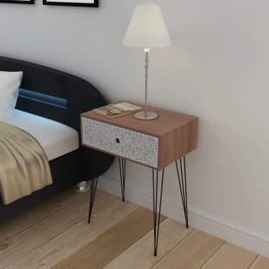 vidaXL Sängbord med 1 låda rektangulär brun[1/6]