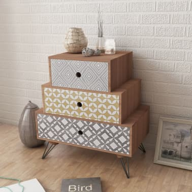 vidaXL Nightstand with 3 Drawers Brown[1/5]