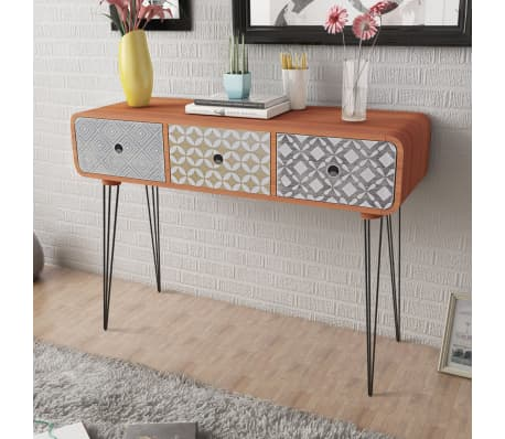 vidaXL Console Table with 3 Drawers Brown[1/5]