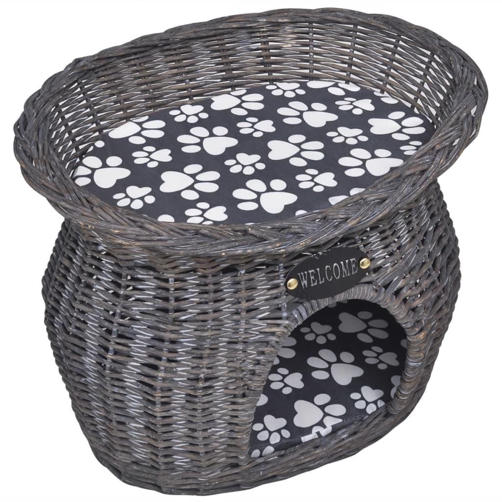 Kočičí škrabadlo/domeček/pelíšek z vrbového proutí s matrací