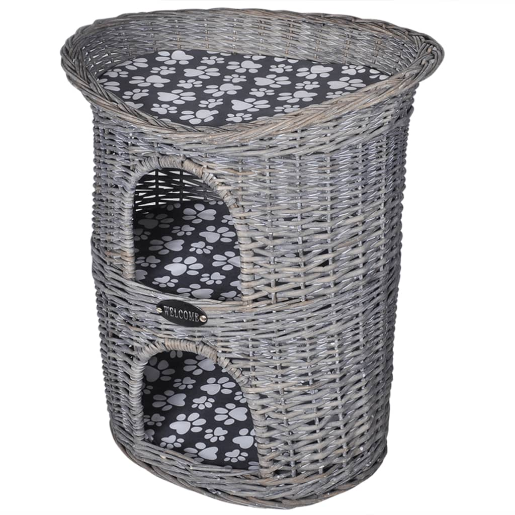 Dvoupatrové kočičí škrabadlo/domeček/pelíšek, vrbové proutí, s matrací