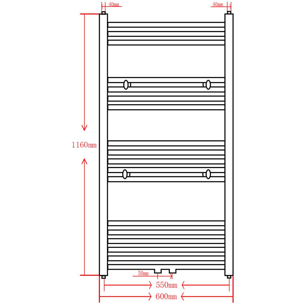 Radiator/handdoekenrek recht 600x1160 mm grijs