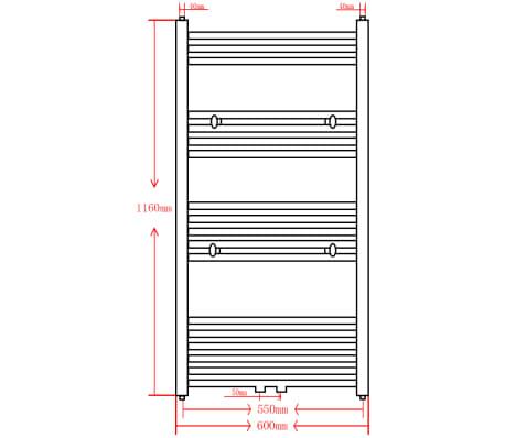 Šedý rebríkový radiátor na centrálne vykurovanie, rovný 600 x 1160 mm[9/9]
