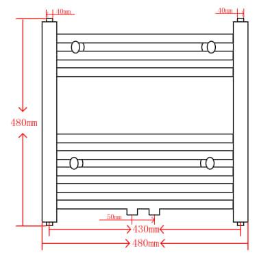 Kylpyhuoneen Keskuslämmitys Pyyheteline Suora 480 x 480 mm[9/9]
