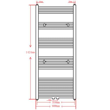 Radiatore scaldasalviette da bagno dritto nero 600 x 1424 - Scaldasalviette da bagno ...