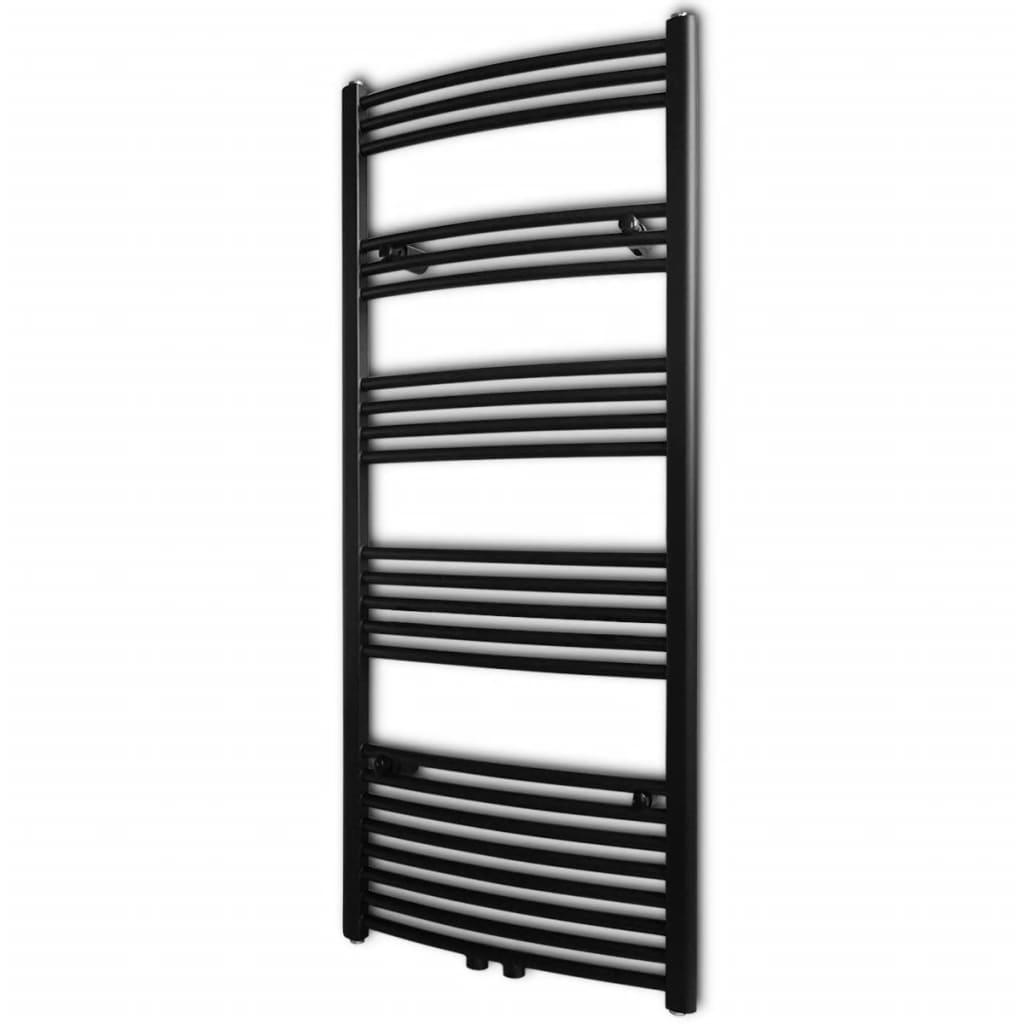 Černý žebříkový radiátor na ručníky obloukový ústřední topení 600 x 1424 mm