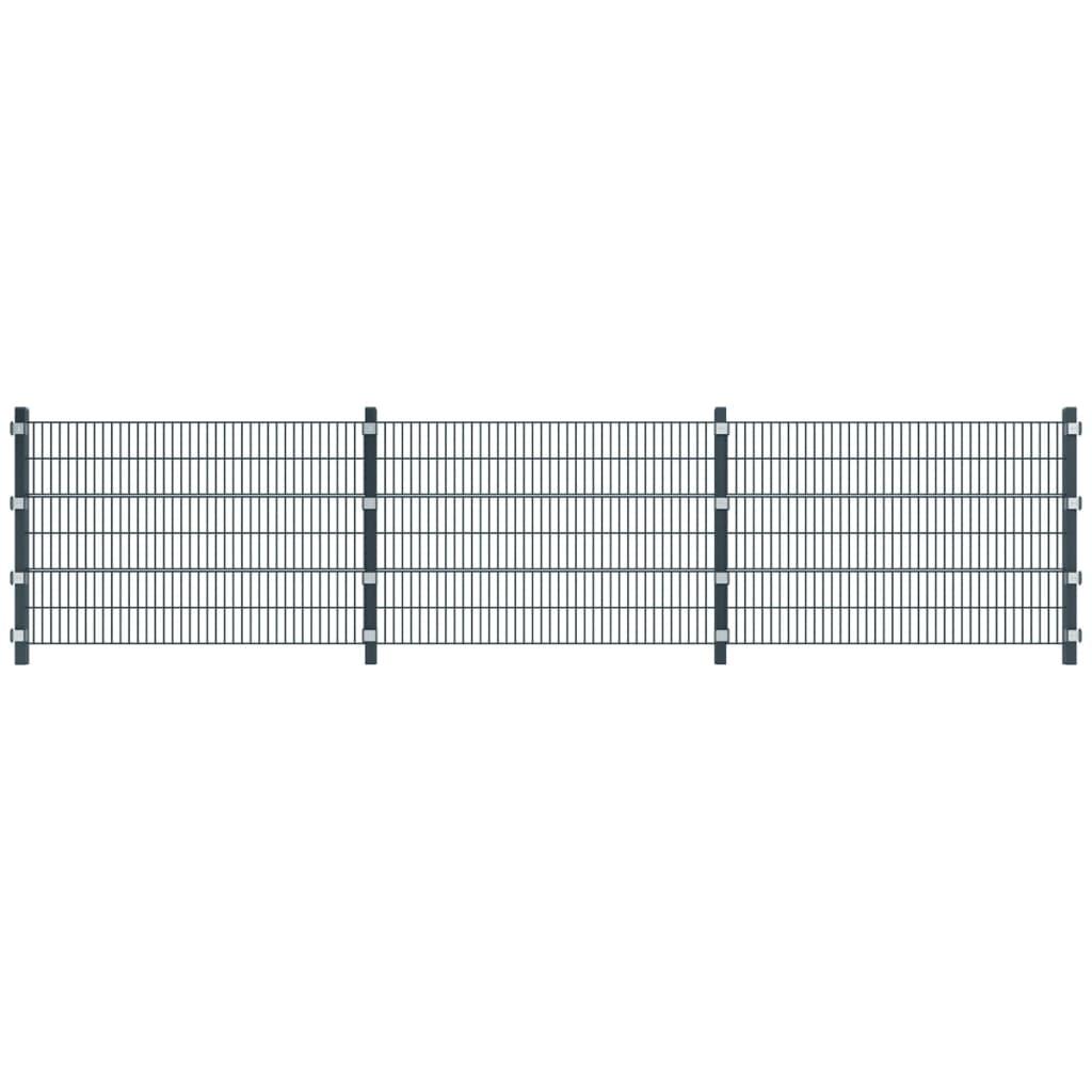 Antracitově šedé plotové dílce a sloupky, délka 6 m, výška 1,2 m
