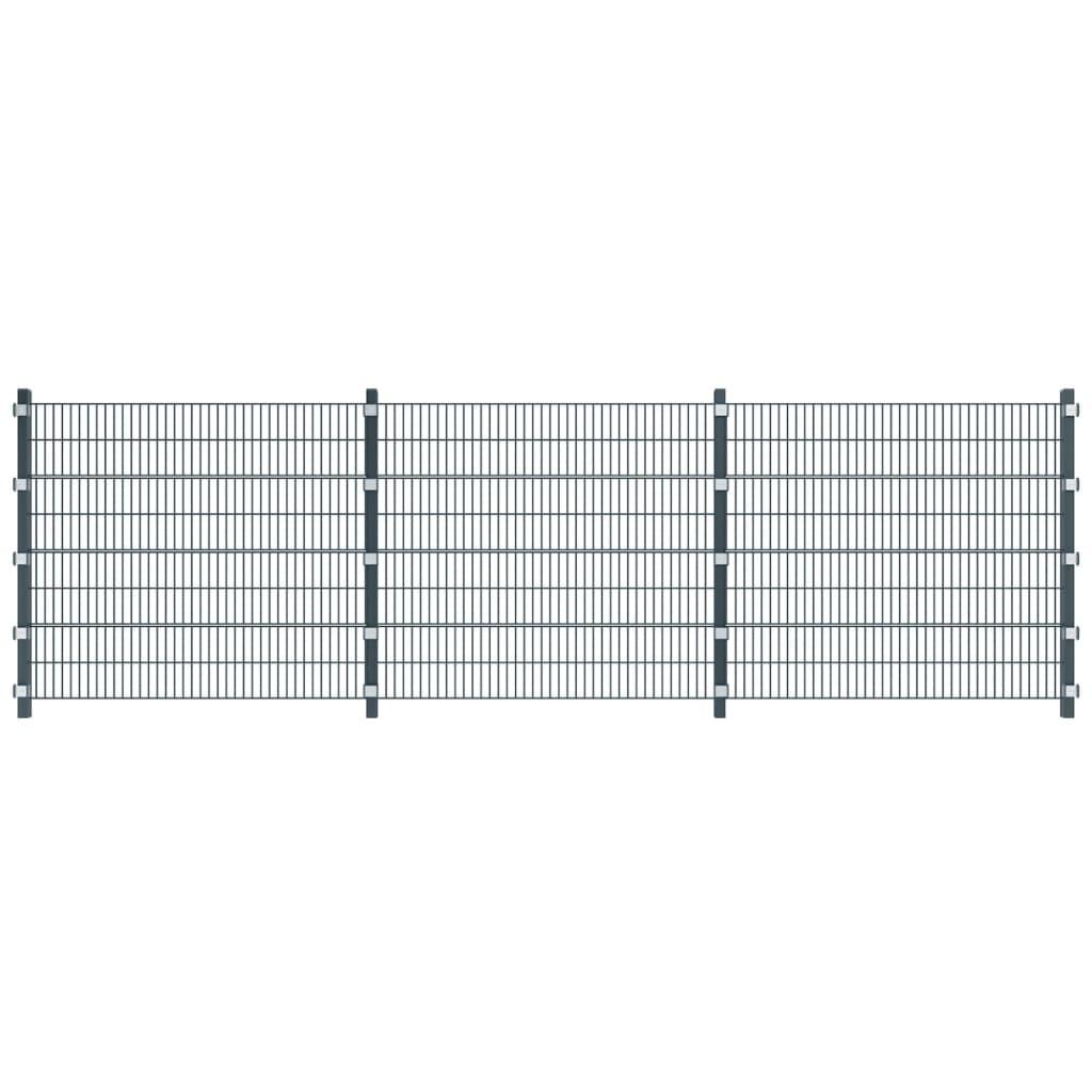 Antracitově šedé plotové dílce a sloupky, délka 6 m, výška 1,6 m