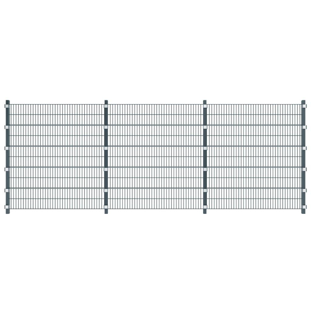 Antracitově šedé plotové dílce a sloupky, délka 6 m, výška 2 m
