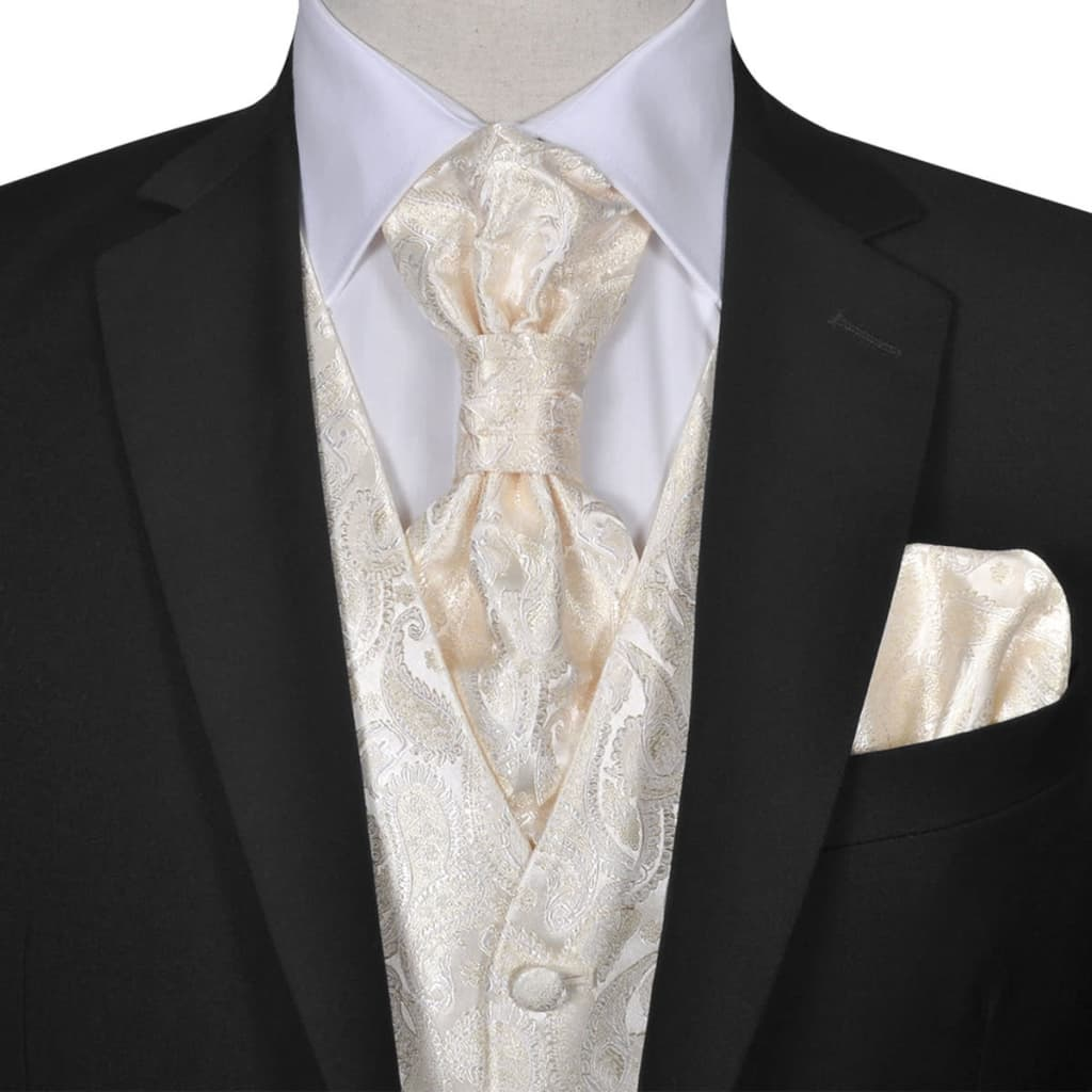 Set vestă de nuntă pentru bărbați cu imprimeu Paisley, mărime 52, crem poza vidaxl.ro