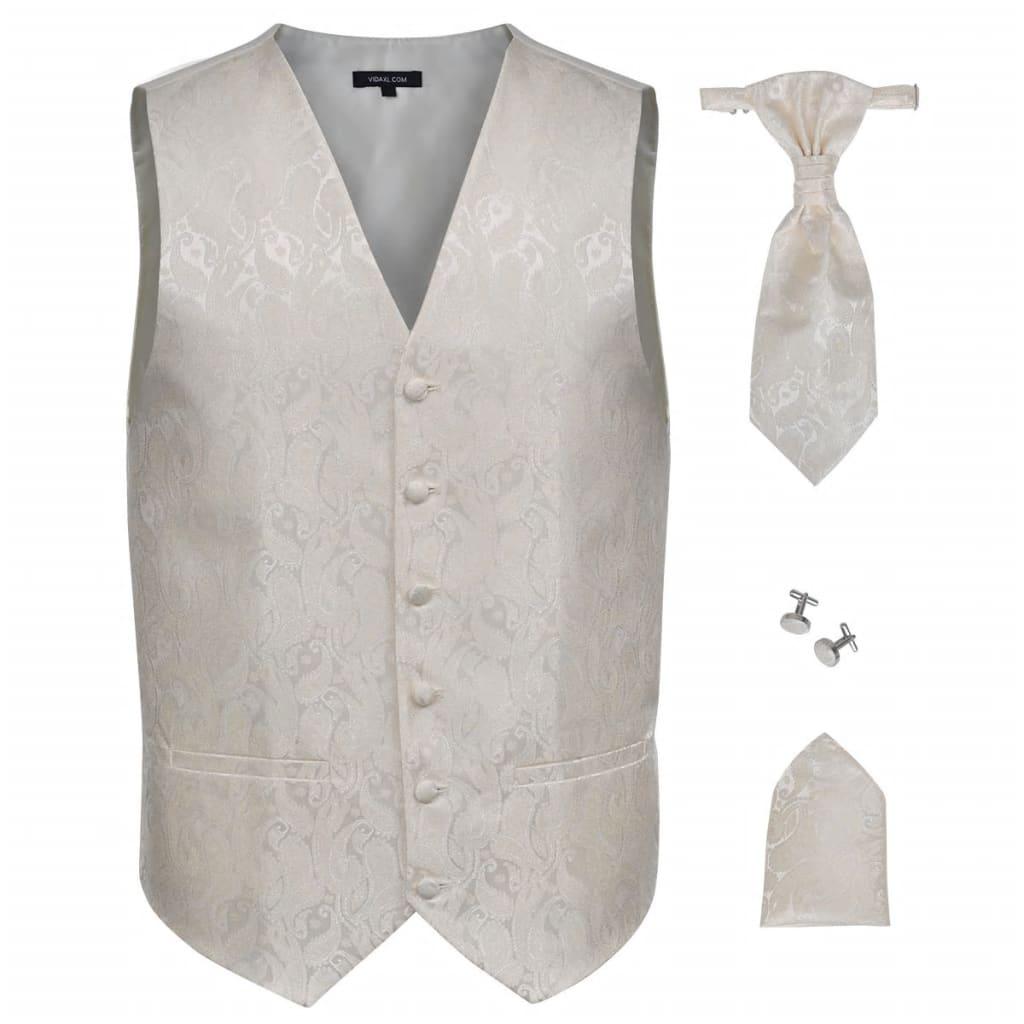 Pánská paisley svatební vesta a doplňky velikost 54 krémová