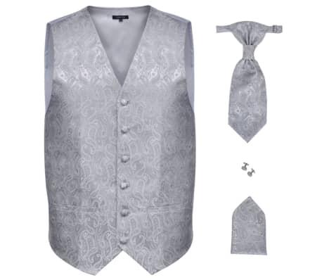 Pánska strieborná svadobná vesta s doplnkami, vzor paisley, veľkosť 48