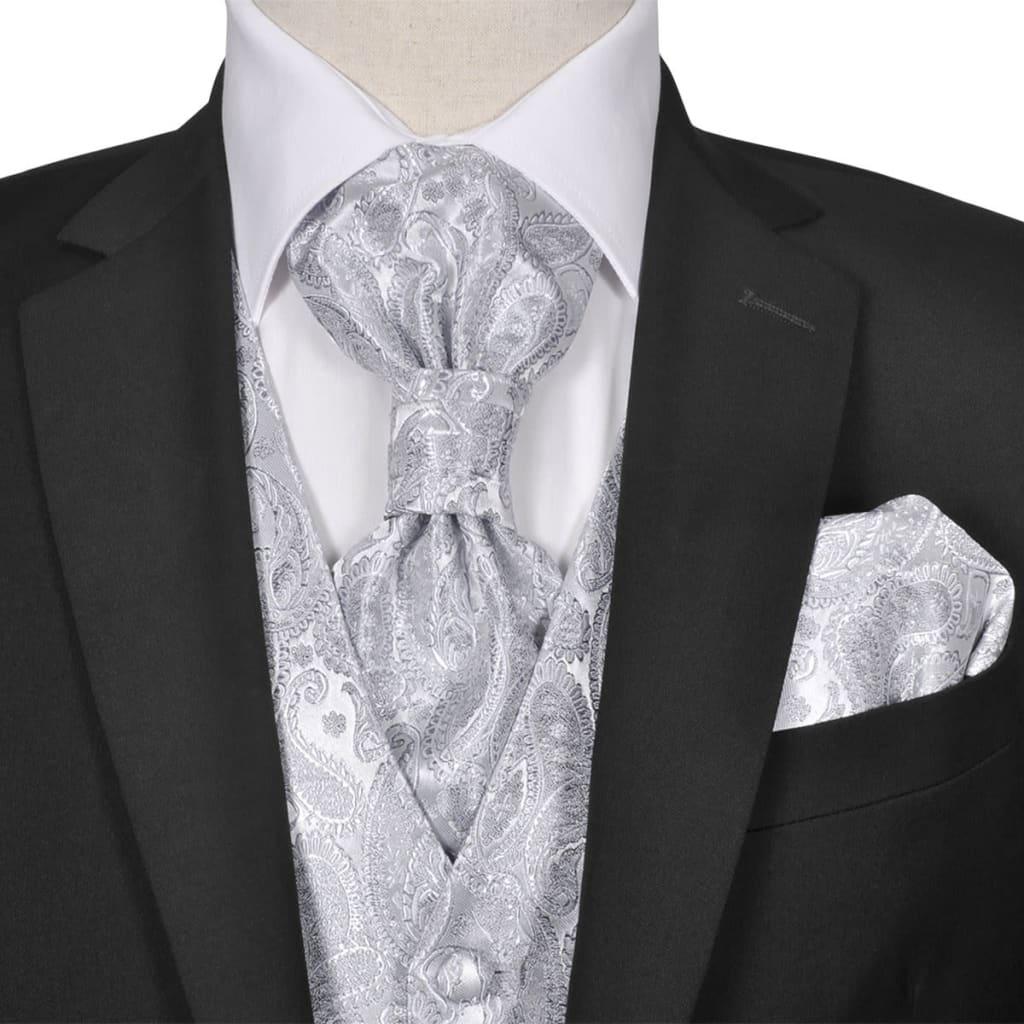 999130833 Herren Paisley-Hochzeitswesten-Set Größe 48 Silber