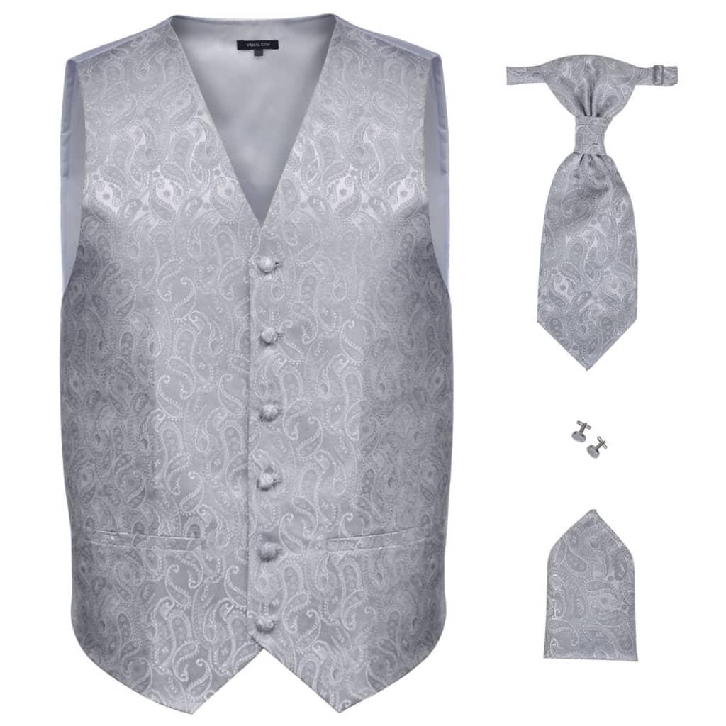 Pánská paisley svatební vesta a doplňky velikost 54 stříbrná