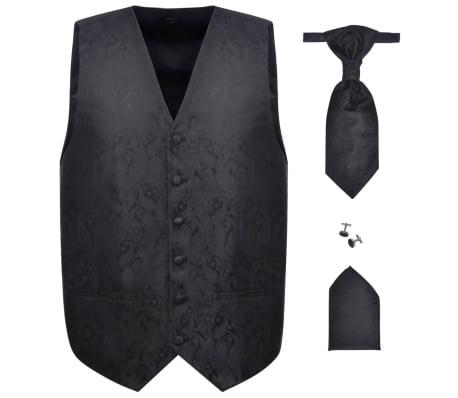 Pánska čierna svadobná vesta s doplnkami, vzor paisley, veľkosť 48