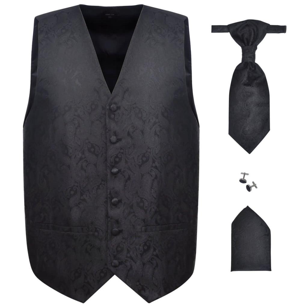 Pánská paisley svatební vesta a doplňky velikost 54 černá