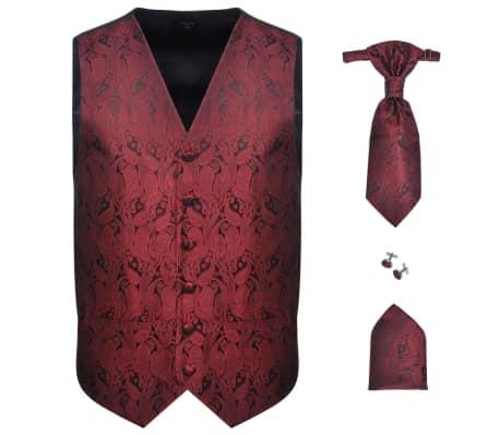 Pánska svadobná vesta s doplnkami, paisley, veľkosť 48, vínová
